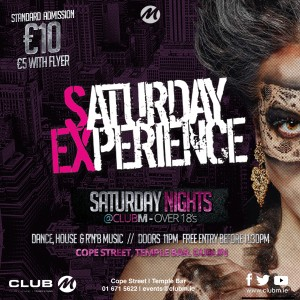 The Saturday Experience With DJ Steven Cooper, Cillian O and more rotating guest dj's
